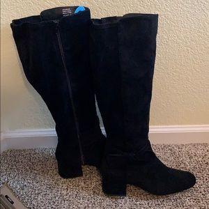 Velvet heeled wide calf boots